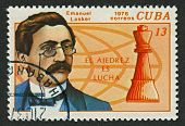 CUBA - CIRCA 1976: A stamp printed in Cuba shows image of the Emanuel Lasker, PhD  was a German chess player, mathematician, and philosopher who was World Chess Champion for 27 years, circa 1976.