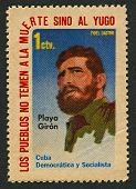 CUBA - CIRCA 1962:A stamp printed in Cuba shows image of the Fidel Alejandro Castro Ruz  is a Cuban communist revolutionary and politician who was Prime Minister of Cuba from 1959 to 1976, circa 1962.