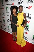 Angela Bassett and Lupita Nyong'o at the 17th Annual Hollywood Film Awards Backstage, Beverly Hilton Hotel, Beverly Hills, CA 10-21-13