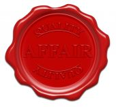 Affair Quality - Illustration Red Wax Seal Isolated On White Background With Word : Affair