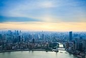 Aerial View Of Shanghai In Sunset