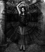 Beauty sensual woman in black dress