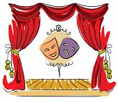stock photo of stage decoration  - Theater stage with red curtain and masks vector illustration - JPG