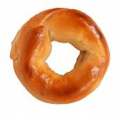 image of doughy  - Bagel isolated on a white background made of tasty delicious chewy dough as a classic circle shaped food symbol of traditional breakfst baked goods and old fashioned bread product - JPG
