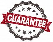 Guarantee Red Grunge Vintage Seal Isolated On White