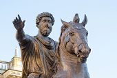 stock photo of emperor  - Horse sculpture of the emperor Marcus Aurelius in the Capitol hill in Rome - JPG