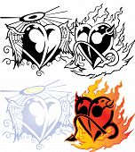 Angel heart with wing and devil heart with fier tribal