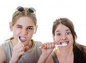 Couple Funny Brushing Teeth