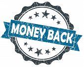 Money Back Blue Grunge Vintage Seal Isolated On White