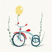 picture of tricycle  - Childish tricycle illustration with baloon - JPG