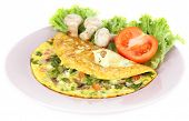 Omelet with mushrooms isolated on white