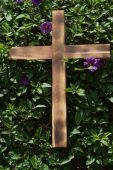 Wooden Cross on Shrub