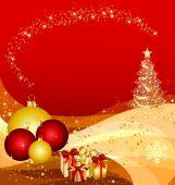 christmas tree on golden waves