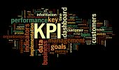 KPI key performance indicators in word tag cloud on black background