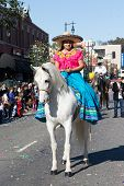 Mexican Woman In The 115Th Annual Golden Dragon Parade, Lunar New Year Celebrations On February 1, 2
