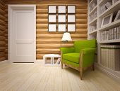 stock photo of chalet interior  - modern interior of wooden house  - JPG