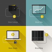 stock photo of bitcoin  - Bitcoin modern flat design elements - JPG