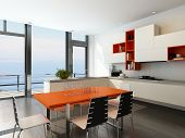 Modern kitchen interior with orange and white furniture