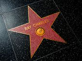 HOLLYWOOD, CALIFORNIA - APRIL 12, 2013: Ray Charles Star on Hollywood Walk of Fame in Hollywood Cali