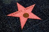 HOLLYWOOD, CALIFORNIA - APRIL 12, 2013:Charles Chaplin Star on Hollywood Walk of Fame in Hollywood C