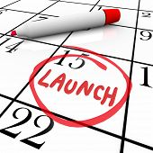 Launch Word Circled Calendar New Product Debut Unveiling