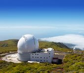 LA PALMA, CANARY ISLANDS, SPAIN - JULY 14, 2012: William Herschel telescope in a sunny day blue sky