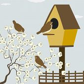 image of bird fence  - A branch with flowers and birds in vector - JPG