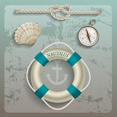 Lifebuoy, compass, shell and rope, sailing elements, eps10 vector