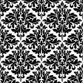 Black and white floral arabesque pattern