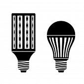 vector LED energy saving lamp bulb symbols