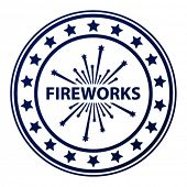 vector fireworks stamp