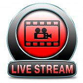 live stream video button icon or sign live on air broadcasting tv movie or watch television program