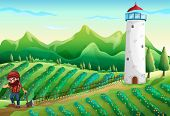 Illustration of a farm with a lumberjack and a tower