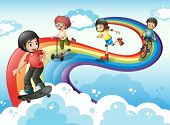 Illustration of the kids in the sky playing with the rainbow