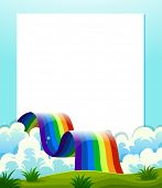 Illustration of an empty paper template with a rainbow at the bottom