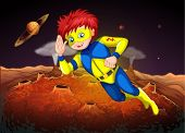foto of outerspace  - Illustration of an outerspace with a superhero - JPG