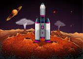 pic of outerspace  - Illustration of a rocket at the outerspace with planets - JPG