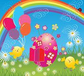 Easter card with balloon