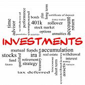 Investments Word Cloud Concept In Red Caps