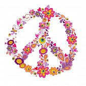 Peace flower symbol. Raster copy of vector image
