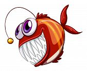 Illustration of an ugly angry fish on a white background