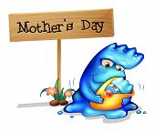 Illustration of a mother monster with her daughter near a signboard on a white background