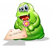 Illustration of a greenslime monster holding a signage on a white background