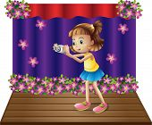 Illustration of a stage with a young girl holding a camera on a white background