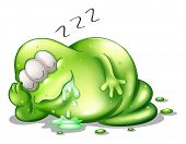 Illustration of a greenslime monster sleeping on a white background