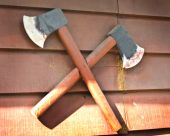Two Wooden Decoration Axe