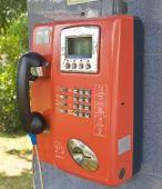 Orange öffentliches Telefon