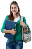foto of bagpack  - Happy student girl isolated on a over white background - JPG