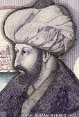TURKEY - CIRCA 1986: Mehmed the Conqueror (1432-1481) on 1000 Lira 1986 Banknote from Turkey. Sultan