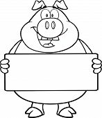 Black And White Pig Cartoon Character Holding A Banner